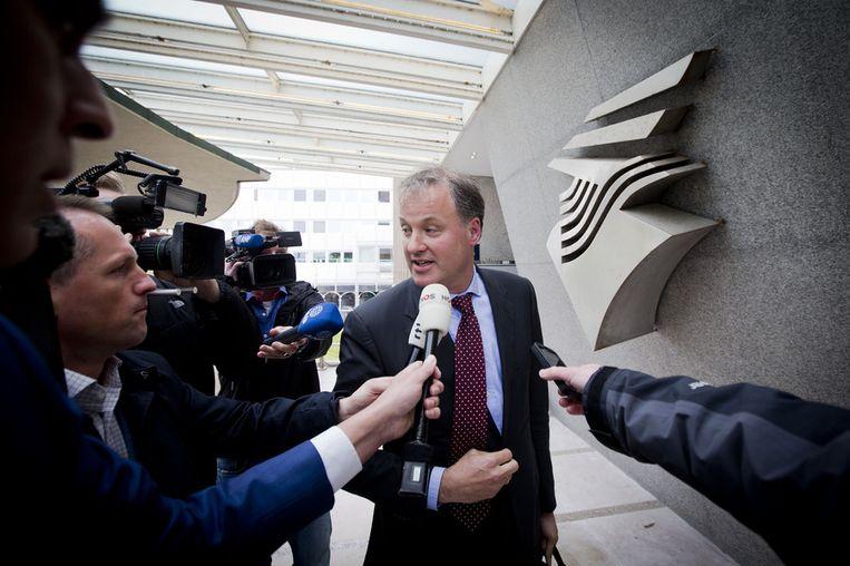 NS-topman Bert Meerstadt komt aan bij het ministerie van Infrastructuur voor een gesprek met staatssecretaris Wilma Mansveld over de Fyra. Beeld anp