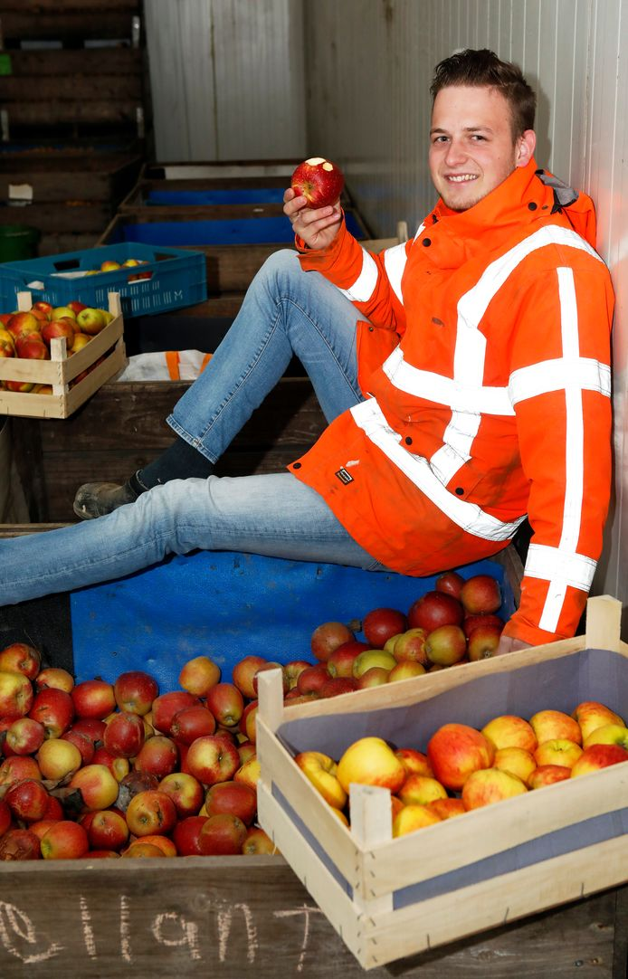 Herman de Vree te midden van de appels op het bedrijf van zijn ouders in Dodewaard.