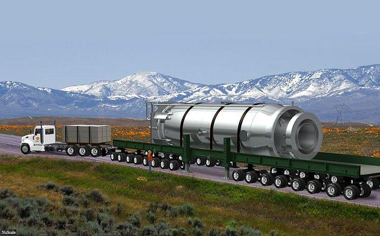 NuScale: kerncentrale die op de oplegger van een vrachtwagen vervoerd kan worden. Beeld RV NuScale