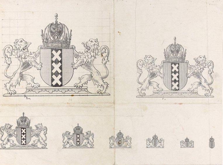Verkleiningen van het nieuwe stadswapen uit 1898 voor gemeentelijk drukwerk Beeld Bijzondere Collecties