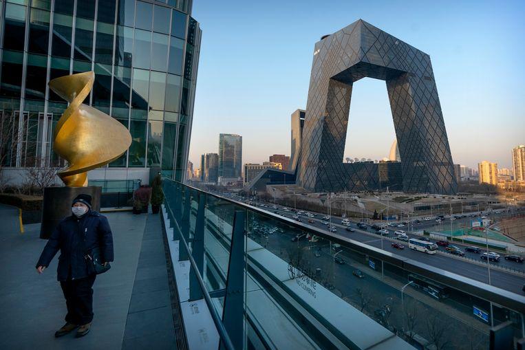 De kantoren van de Chinese staatszender CCTV in Peking. De Engelstalige versie daarvan, CGTN, verloor eerder zijn licentie in het VK. Beeld AP
