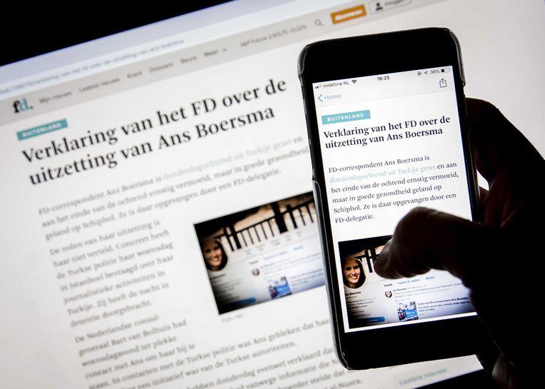FD-hoofdredacteur Jan Bonjer bracht een verklaring uit over de uitzetting van journaliste Ans Boersma door Turkije. Beeld ANP