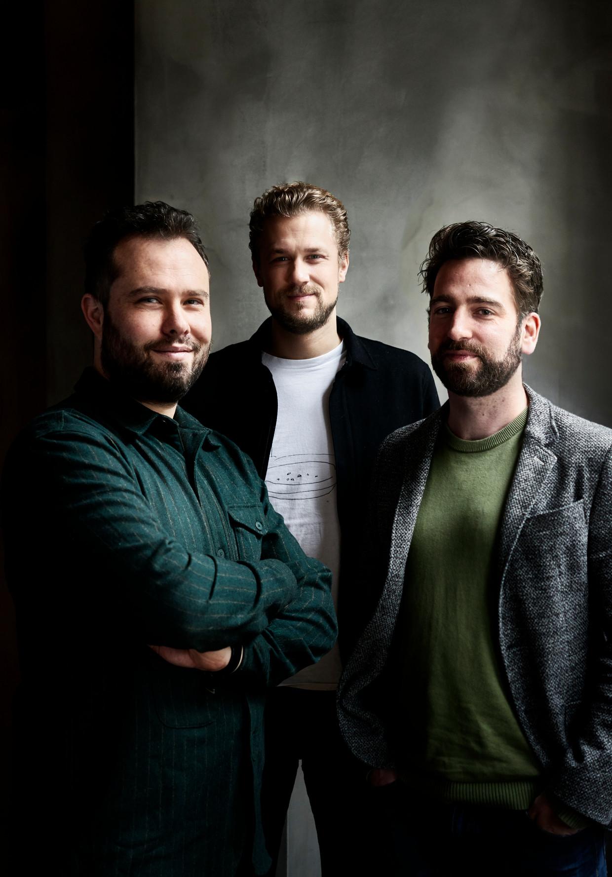Van links naar rechts: Samuel Levie, Joris Bijdendijk en Joris Lohman. Beeld Rein Janssen