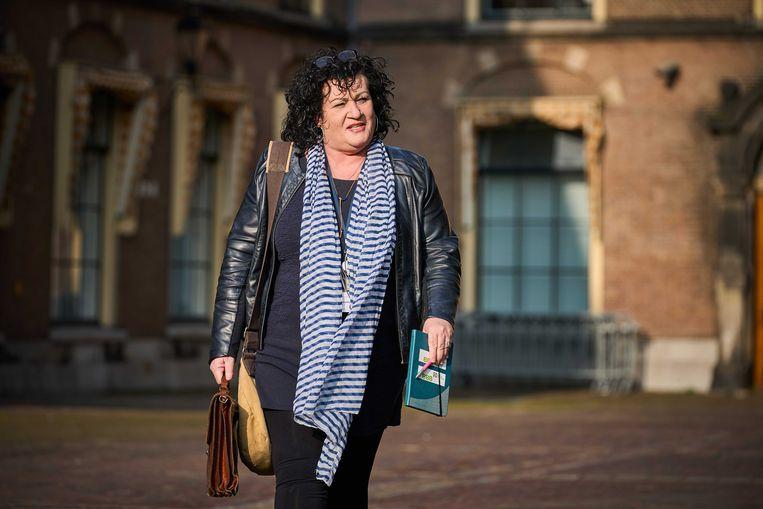 Caroline van der Plas (BBB) op weg naar de Tweede Kamer. Beeld ANP
