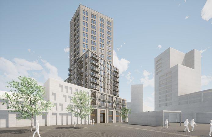 Een impressie van de nieuwe woontoren, gezien vanaf het Pieter Vreedeplein, met rechts de bestaande hoogbouw.