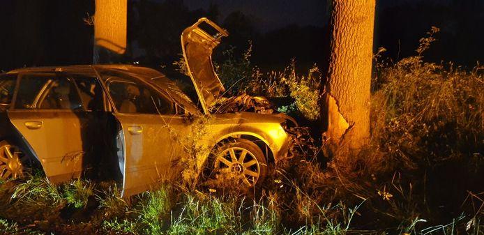 Door nog onbekende oorzaak botste de auto tegen een boom in Saasveld.