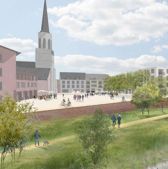 Een beeld van hoe het kerkplein er na de vernieuwing zou kunnen uitzien.