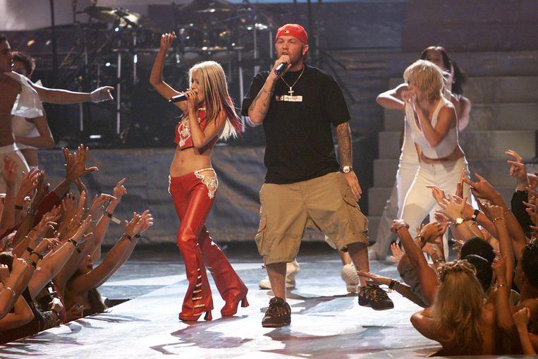 Christina Aguilera en Fred Durst op de MTV Video Music Awards in 2000. Beeld Getty Images