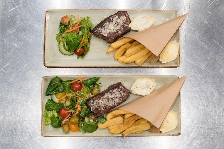 Bovenaan: friet en vlees voor de remake. Onderaan: de duurzame variant met minder vlees en meer groenten. Beeld Jenaae Jackson / Stella Image Photography