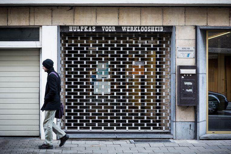 De Hulpkas voor Werkloosheidsuitkeringen in Leuven. Beeld BELGA