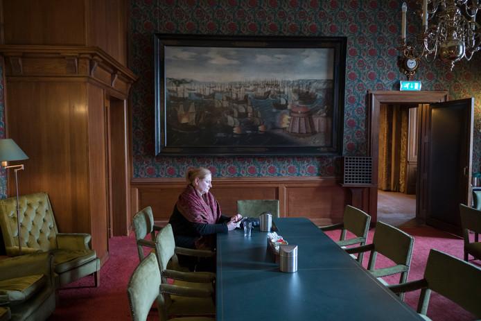 PvdA'er Mary Fiers in april vorig jaar, net voordat ze beëdigd wordt als lid van de Eerste Kamer.