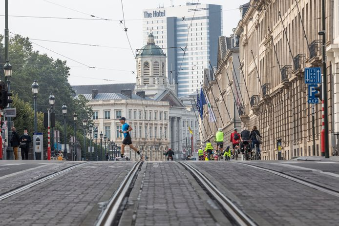 Illustration shows people enjoying the Car Free Sunday in the Brussels Capital region, Sunday 19 September 2021. In several cities and towns across Belgium a Sunday without cars or other motorized transport is organized. BELGA PHOTO HATIM KAGHAT