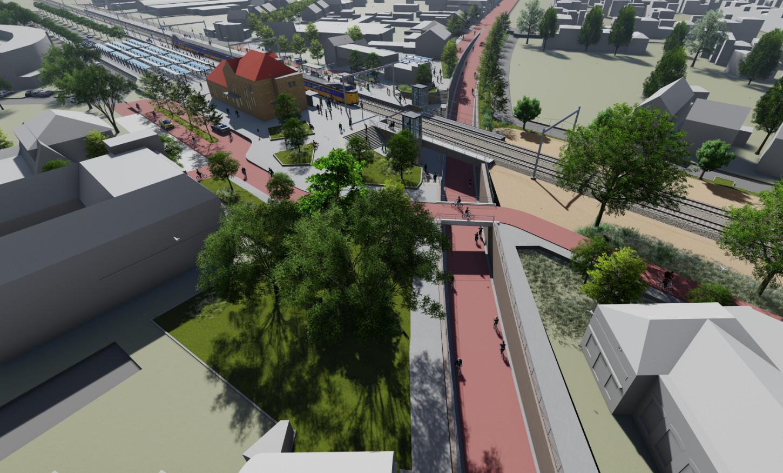 Bovenaanzicht van de vernieuwde spoorzone in Rijen. De helling van de onderdoorgang aan de andere zijde van het spoor is te steil. De gemeente zoekt een oplossing.