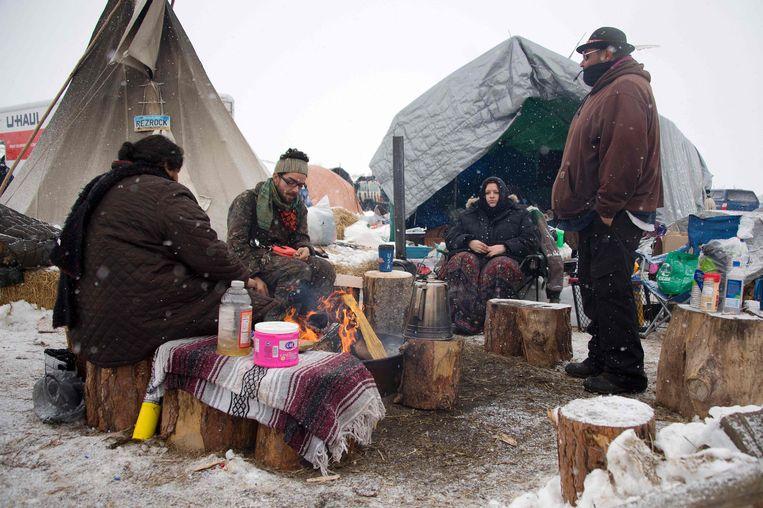 Activisten in Standing Rock. Beeld AFP
