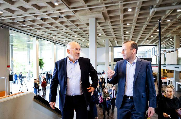 Frans Timmermans (l.) was Spitzenkandidaat voor de sociaaldemocraten, Manfred Weber (r.) voor de christendemocraten. Geen van de twee heeft het nu gehaald.