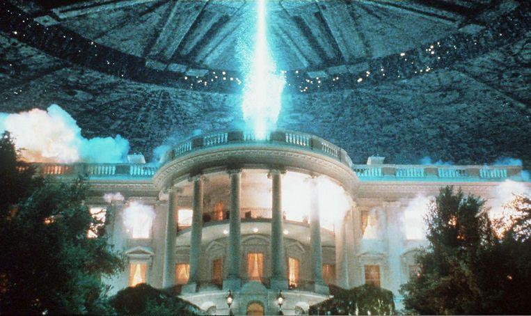 Een scène uit de film Independence Day, waarin kwaadwillende aliens het Witte Huis aanvallen. Beeld AFP