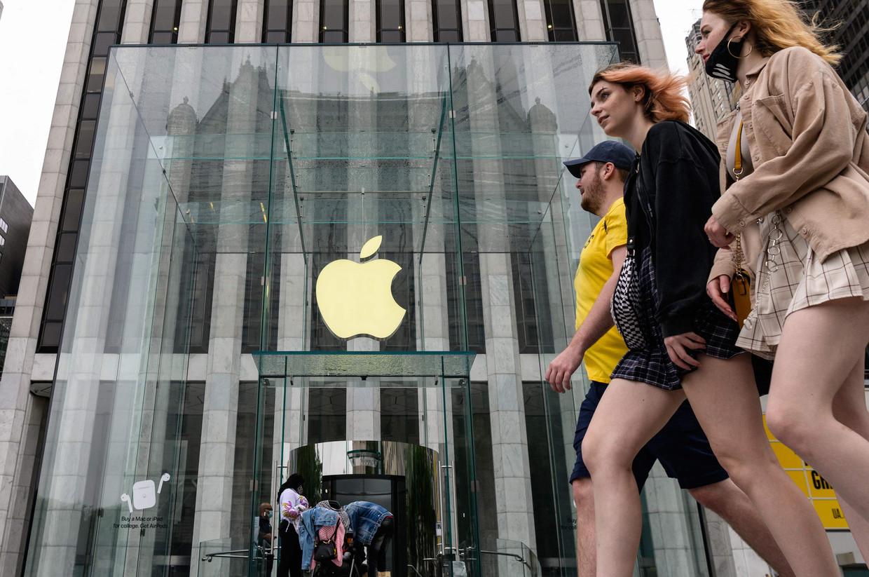 Apple maakte ruim 21 miljard dollar winst, twee keer zoveel als vorig jaar in dezelfde periode.  Beeld AFP