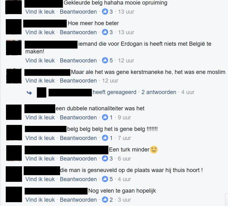 Geanonimiseerde haatdragende en racistische reacties op de dood van Kerim A. op Facebook. Beeld Facebook