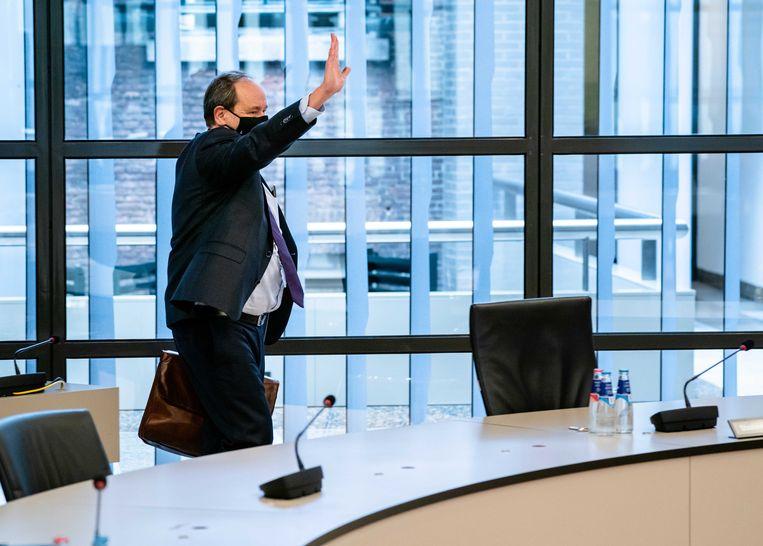 De staatssecretaris Hans Vijlbrief (Financiën) voorafgaand aan de behandeling in de Tweede Kamer van het Pakket Belastingplan. Beeld ANP