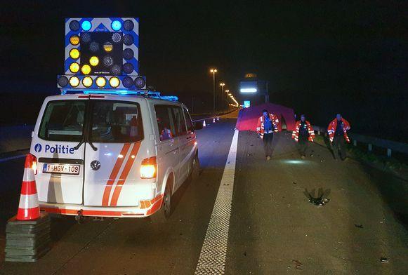 Het dodelijk ongeval met de motorrijder op de E313