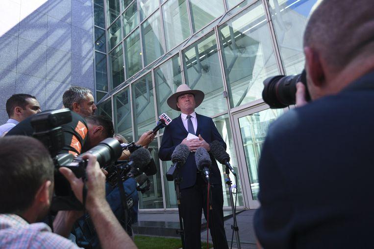 Vicepremier Barnaby Joyce tijdens een persconferentie bij het Parliament House in Canberra, Australië. Beeld EPA