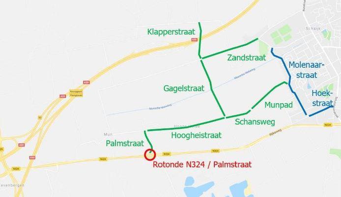 Het door Megaborn onderzochte gebied ten westen van Schaijk.
