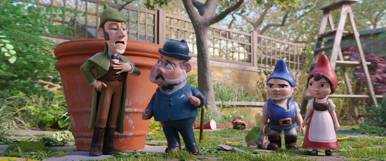 Sherlock Gnomes, Watson, Gnomeo en Juliet in Sherlock Gnomes. Beeld RV