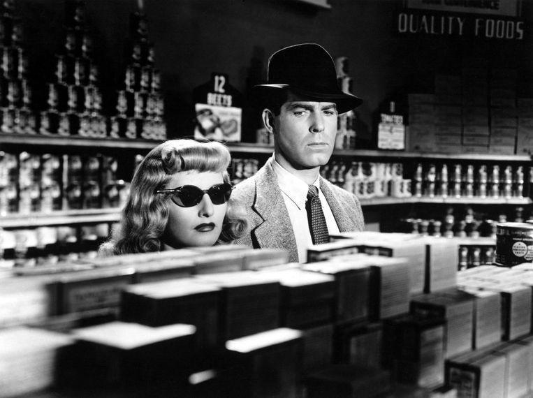 Barbara Stanwyck en Fred MacMurray in 'Double Indemnity' (1944). Beeld