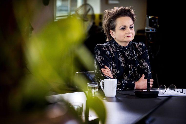 Demissionair staatssecretaris Alexandra van Huffelen voorafgaand aan een online bijeenkomst met gedupeerden van de toeslagenaffaire.  Beeld ANP