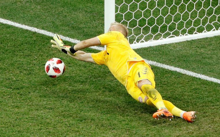 Schmeichel stopte -net als Subasic- in totaal drie penalty's...