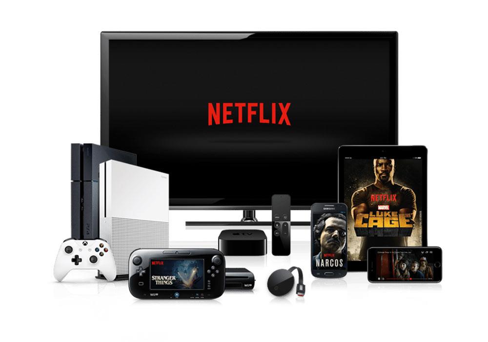Een selectie van apparaten waarop streamingdienst Netflix werkt.