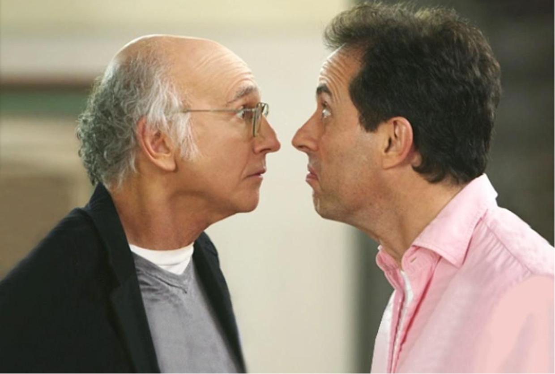 Cazzie David (dochter van): 'In het echte leven kan hij niet tegen bekvechten. Hij is daar helemaal ondersteboven van.' (Foto: Larry David neus aan neus met Jerry Seinfeld in 'Seinfeld'.) Beeld