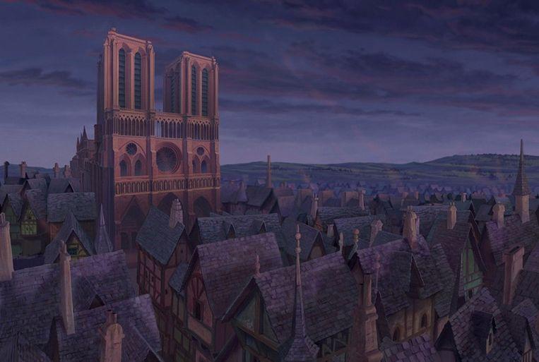 De kathedraal in de tekenfilm.