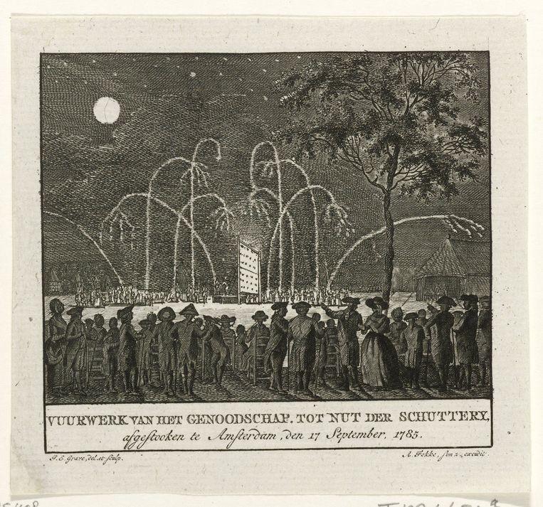 Prent 'Vuurwerk van het Genoodschap tot Nut der Schuttery, afgestooken te Amsterdam', 1785. Beeld Rijksmuseum Amsterdam