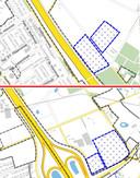 De beoogde locaties voor zonnepaneelvelden in Best: aan de Boslaan Zuid (boven) en de Koppelstraat (onder).