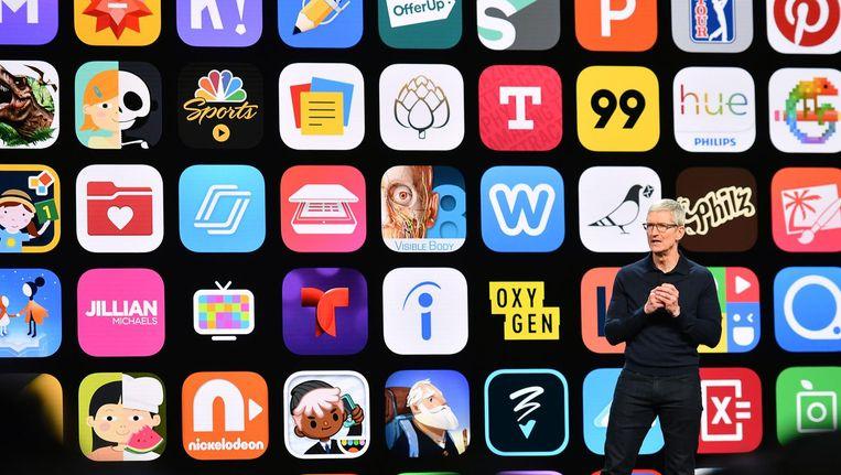 Apple heeft maandagavond het nieuwe besturingssysteem iOS 12 aangekondigd. Beeld anp
