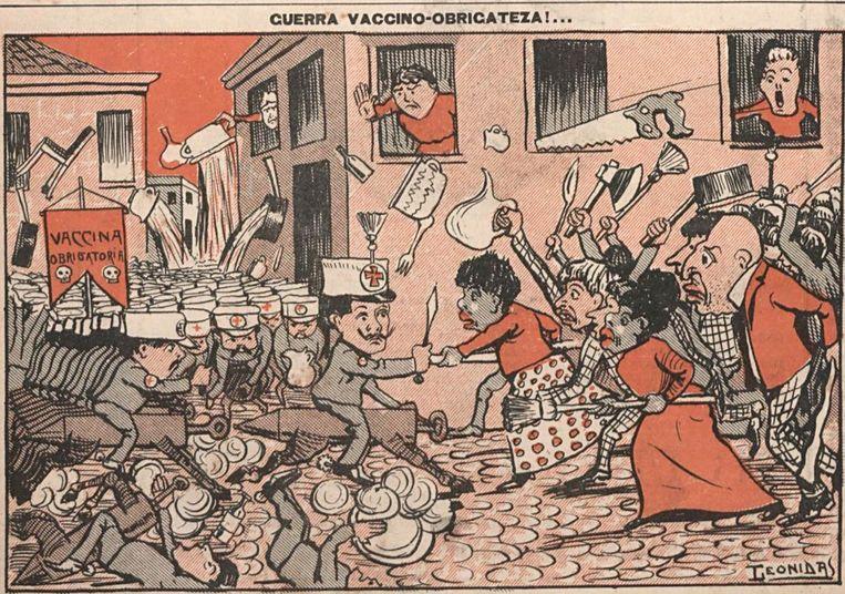 Een cartoon van Leonidas in de krant 'O Malho' op 29 oktober 1904. Beeld rv