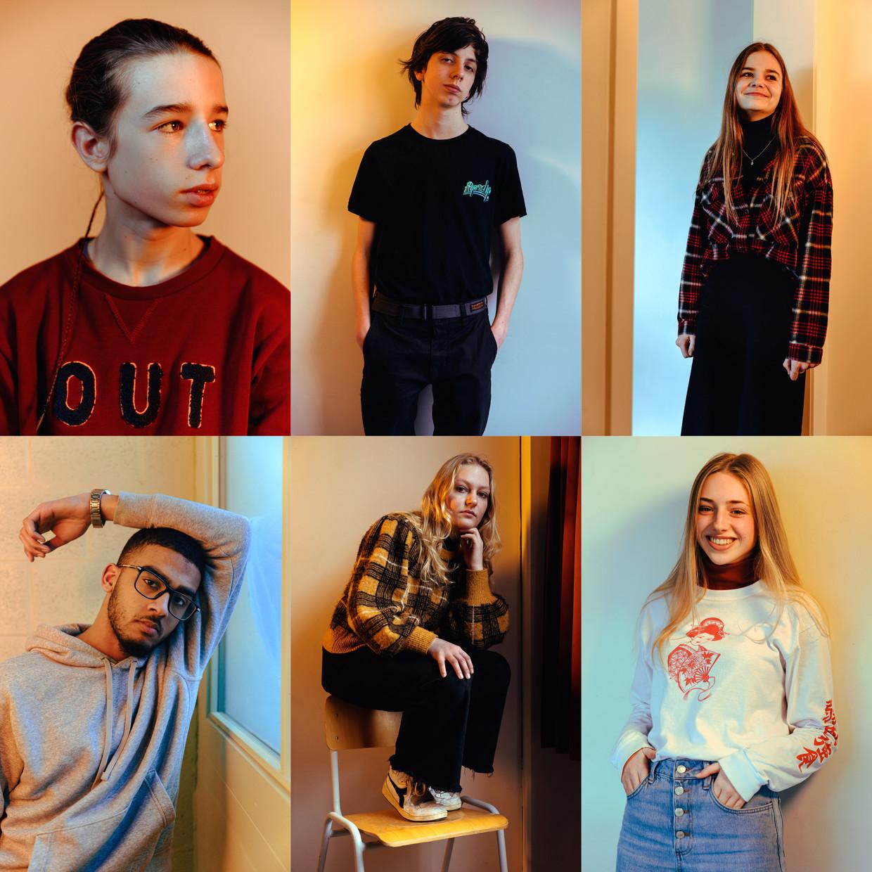 Boven: Daan, Jent en Lore. Onder: Ismael, Nasrine en Janne.  Beeld Damon De Backer