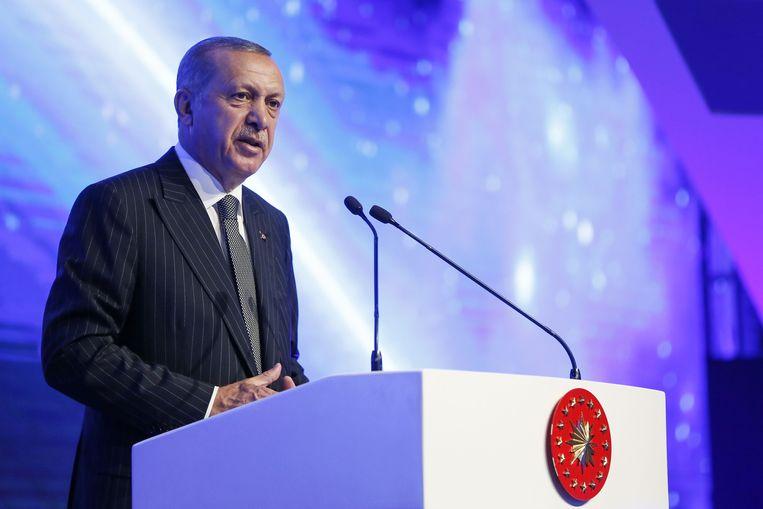Erdogan tijdens een toespraak. Beeld AFP