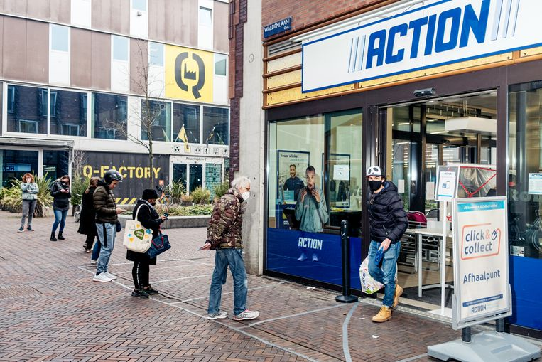 De tijdslots bij de Action, zoals hier in Oostpoort, waren in no time volgeboekt.    Beeld Jakob van Vliet