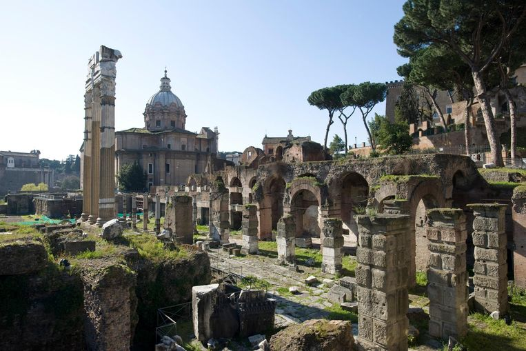 Stad: Rome. 'Op mijn achttiende ontdekte ik Rome, een stad die alles voor me betekent.' Op de foto het Forum Romanum en de Via Appia. Beeld Getty