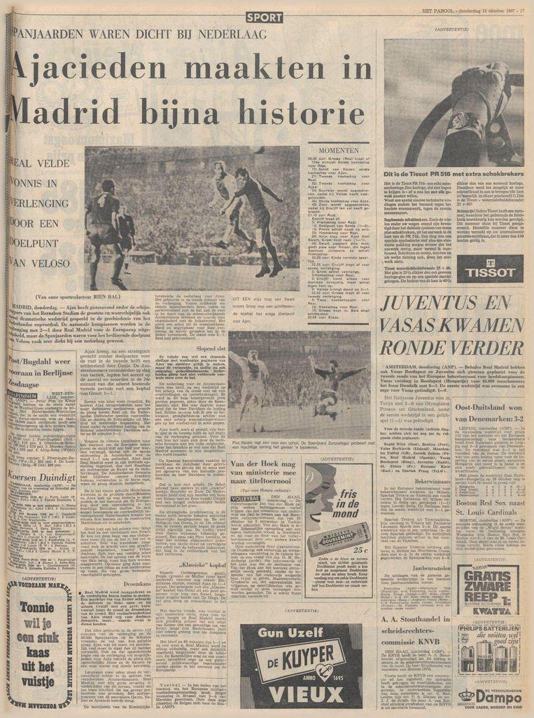 Het Parool een dag na de tweede wedstrijd tegen Real in 1967. Beeld Het Parool