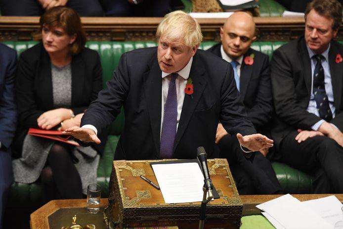 Premier Boris Johnson in het Britse Lagerhuis.