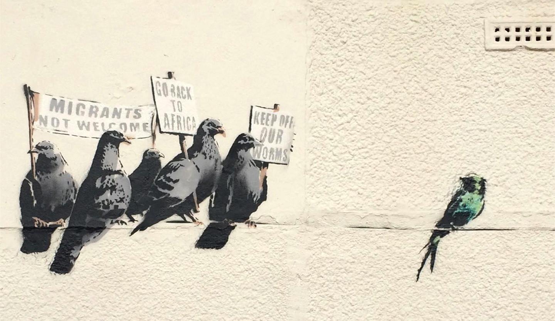 De 'racistische' muurschildering van Banksy.