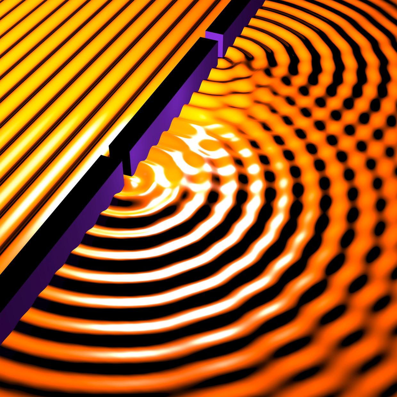 Onderzoekers gebruikten een nieuwe versie van het klassieke 'tweespletenexperiment' om te bewijzen dat de grote moleculen in hun experiment tegelijk op twee plekken zijn.   Beeld Science Photo Library