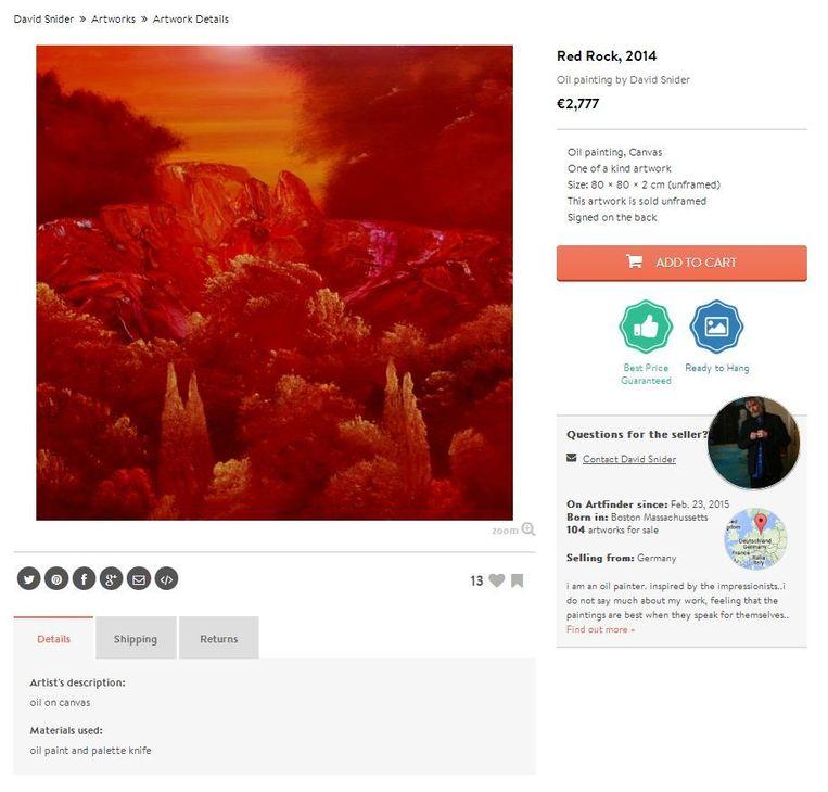 1 Artfinder - Red Rock (2014)- 80 x 80 cm - David Snider Beeld .