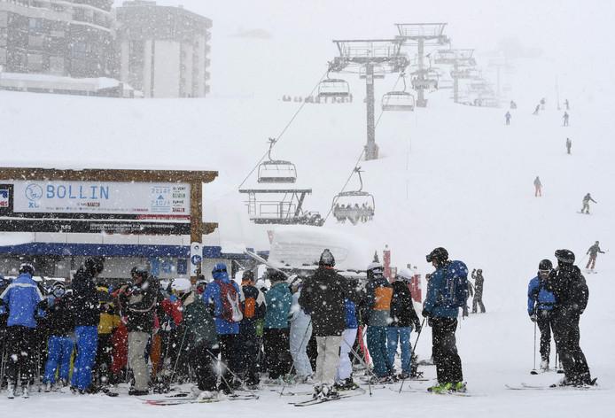 Wintersporters in het Franse Tignes.