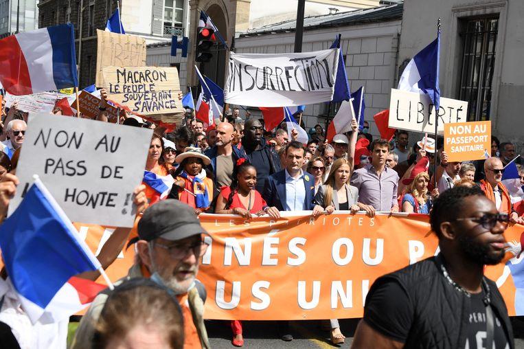 Protest tegen de nieuwe coronamaatregelen in Frankrijk. Beeld AFP