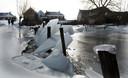 Door het hoge water met de strenge vorst en het kruiend ijs is de afrastering vernield. Sommige palen zijn wel 40 centimeter gezakt door de dikte van het ijs.