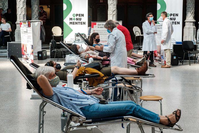 Een bloedinzameling van het Rode Kruis.